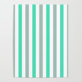 Menthol green, gray and white vertical stripes Poster