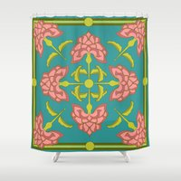 flora Shower Curtains featuring Flora by nandita singh