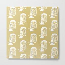 Tuba Pattern Gold Metal Print