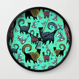 Blue Snobby Cocktail Cats Wall Clock