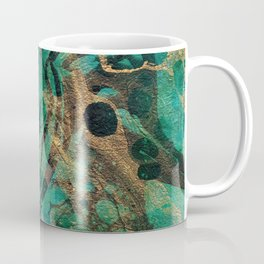 Green and Gold marbled paper Coffee Mug