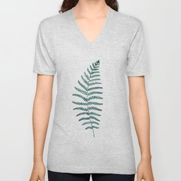Emerald Fern Watercolor | Botanical Painting Unisex V-Neck