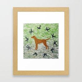 Hungarian vizsla dog with birds Framed Art Print
