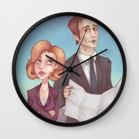 dana scully Wall Clocks featuring Mulder & Scully by Kaz Palladino