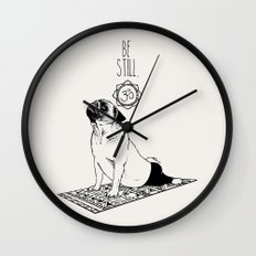 Be Still Pug Wall Clock