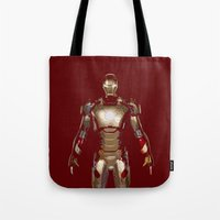 iron man Tote Bags featuring Iron Man  by George Hatzis