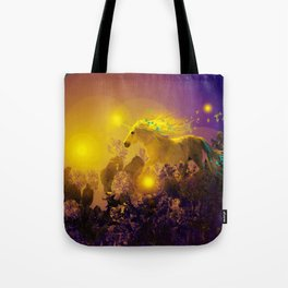Unicorn In The Night Of Glow - My Fantasy Garden - #society6 Tote Bag