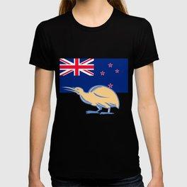 Kiwi Bird NZ Flag Woodcut T-shirt