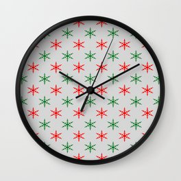 Red and green snowflakes Wall Clock