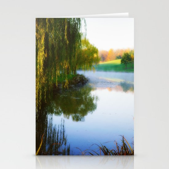 Morning mist on Schnormeier pond Stationery Cards