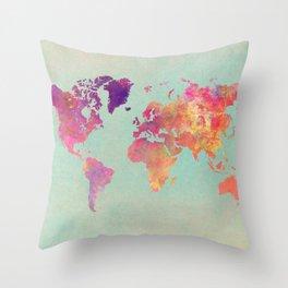 world map 102 #worldmap #map Throw Pillow