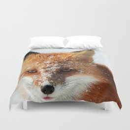 Snowy Faced Cheeky Fox with Tongue Out Duvet Cover