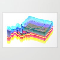 playstation Art Prints featuring Sony Playstation by Jpeg Artifact