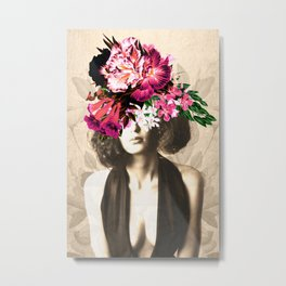 Floral Woman Vintage White Rose Gold Metal Print