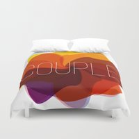 couple Duvet Covers featuring couple by Helmo Studio