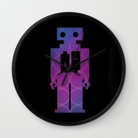robots Wall Clocks featuring Robots by Scar Design
