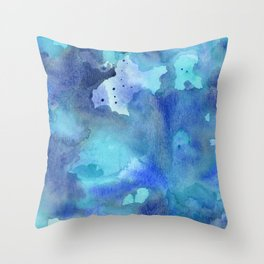 Blue Abstract Watercolor Painting Throw Pillow