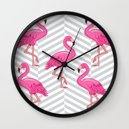 Flamingo with Cross Pattern Background Wall Clock