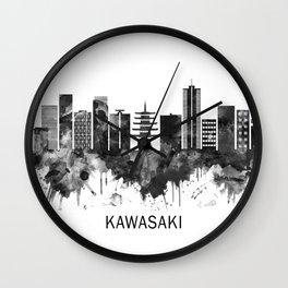 Kawasaki Japan Skyline BW Wall Clock