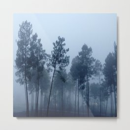 Fog and Forest II-wood,mist,romantic, greenery,sunset,dawn,Landes forest,fantasy Metal Print