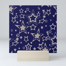 Holiday decor, shiny stars ,Christmas Mini Art Print
