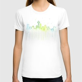 Seattle Skyline Watercolor Space Needle Painting T-shirt