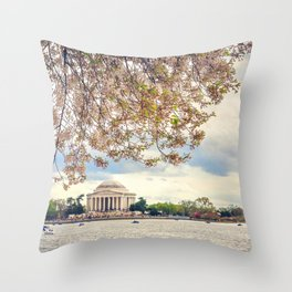 Jefferson Memorial and Cherry Blossoms Throw Pillow