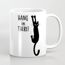 Hang in There! Funny Black Cat Hanging On Coffee Mug
