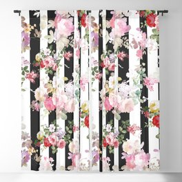 Bold pink watercolor roses floral black white stripes Blackout Curtain