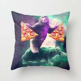 Funny Space Sloth With Pizza Riding On Turtle Throw Pillow