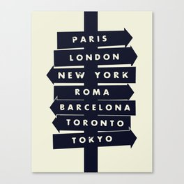 City signpost world destinations Canvas Print