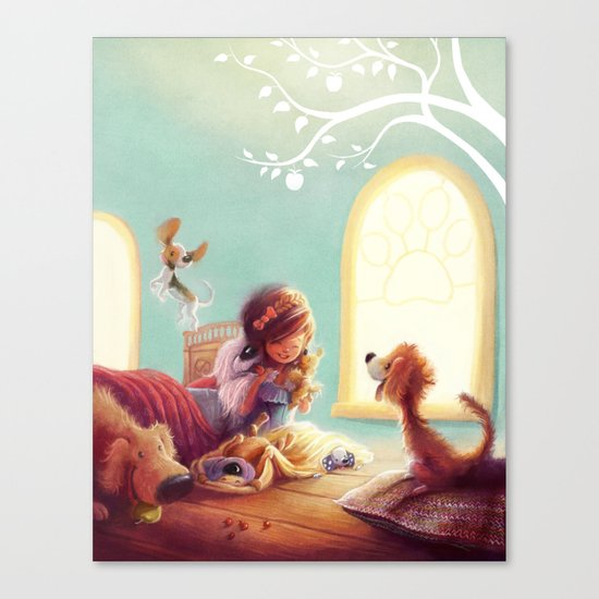 Snow White and the Seven Doggies Canvas Print