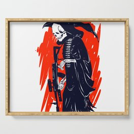 Military skeleton - grim soldier - gothic reaper Serving Tray
