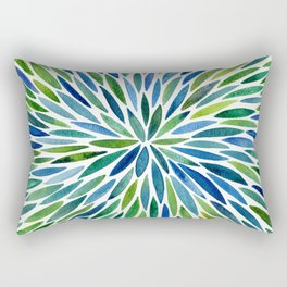 Watercolor Burst – Blue & Green Rectangular Pillow
