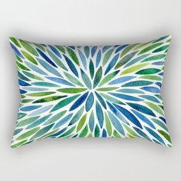 Watercolor Burst – Blue & Green Rectangular Pillow