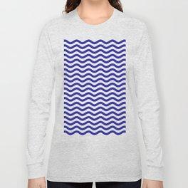 Waves (Navy & White Pattern) Long Sleeve T-shirt