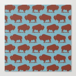 Buffalo Bison Pattern Brown and Blue Canvas Print