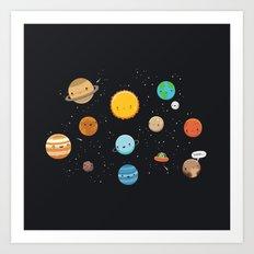 Cute solar system Art Print