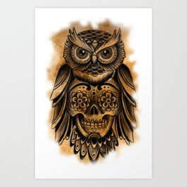Owl Tattoo  Art Print