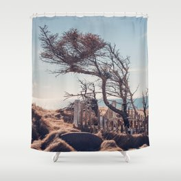 Graveyard by the sea Shower Curtain