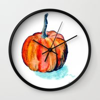 pumpkin Wall Clocks featuring Pumpkin by Elena Sandovici
