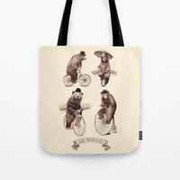 bicycles Tote Bags featuring Bears on Bicycles by Eric Fan