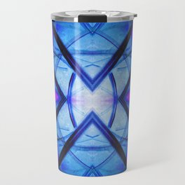Futuristic Abstract Art Blue and Purple Travel Mug