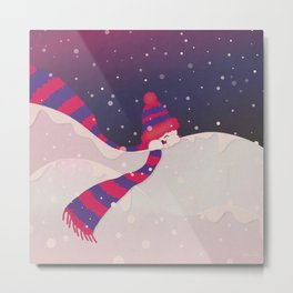 Christmas Peekaboo Snowman II - Blue Violet Snowy Background Metal Print