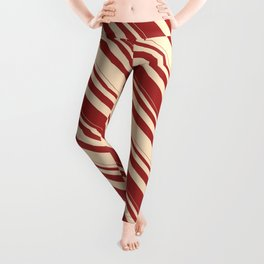 Brown & Bisque Colored Lined Pattern Leggings