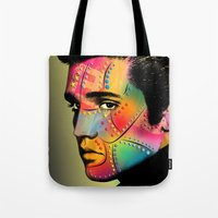 elvis presley Tote Bags featuring Elvis Presley by mark ashkenazi