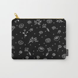 Floral Black Carry-All Pouch