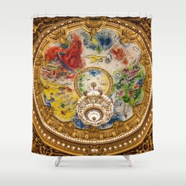 Ceiling Mural of the Palais Garnier Opera House, Paris, France color photograph - photography by  Marc Chagall  Shower Curtain