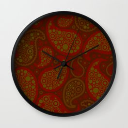 paisley pattern cool retro home trend Wall Clock