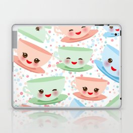 Cute blue pink green Kawai cup, coffee tea with pink cheeks and winking eyes, polka dot background Laptop & iPad Skin